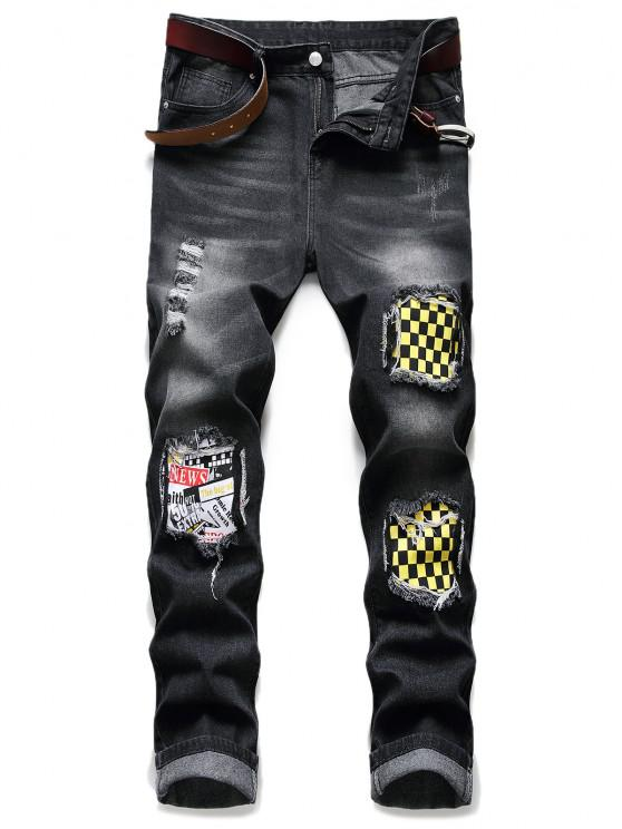 ladies Distressed Ripped Patchwork Scratch Long Jeans - BLACK 36