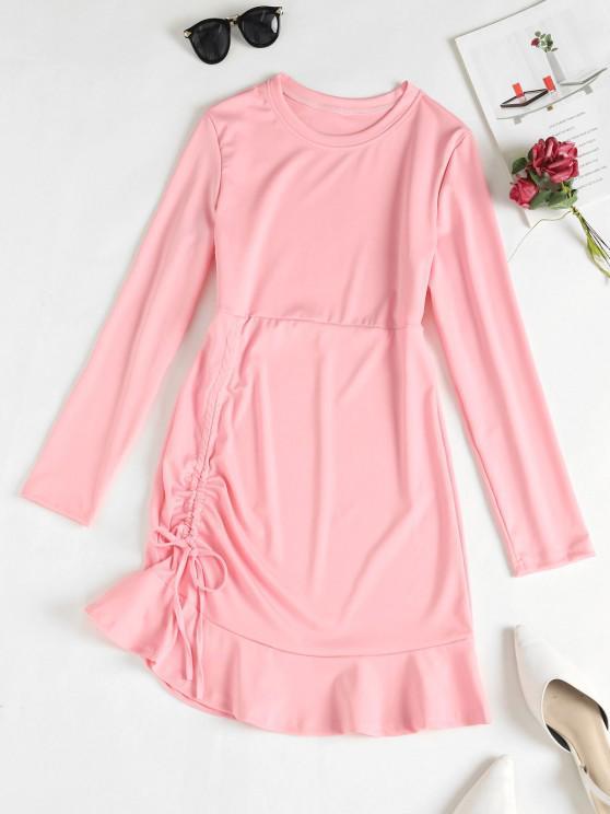 womens Cinched Ruffle Hem Mini Dress - PINK M