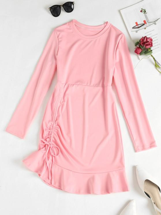 Cinched Ruffle Hem Mini Dress - زهري L