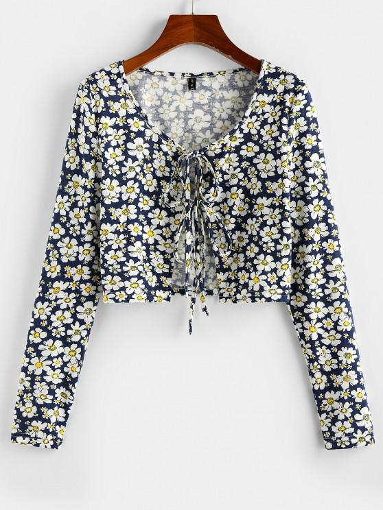 outfits ZAFUL Daisy Print Front Tie Cropped Tee - DEEP BLUE S