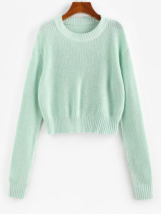 ZAFUL Drop Shoulders Crop Sweater - اخضر فاتح S