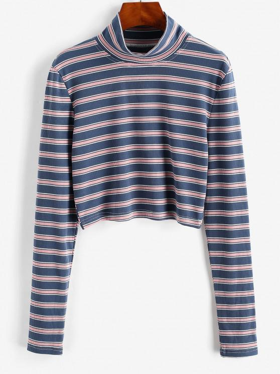 affordable High Neck Mixed Stripes Ribbed Knitwear - MULTI-A XL