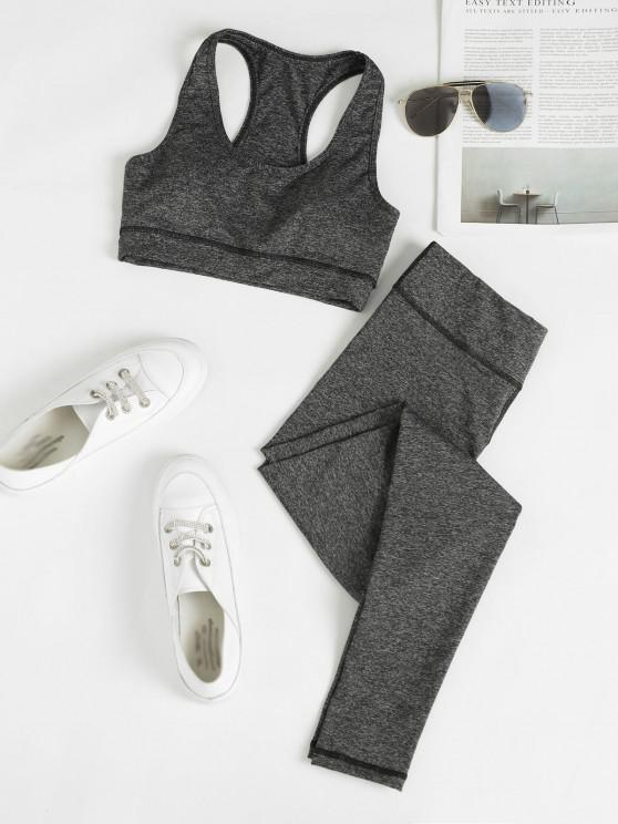 unique Heathered Space Dye Racerback Padded Gym Suit - DARK GRAY L