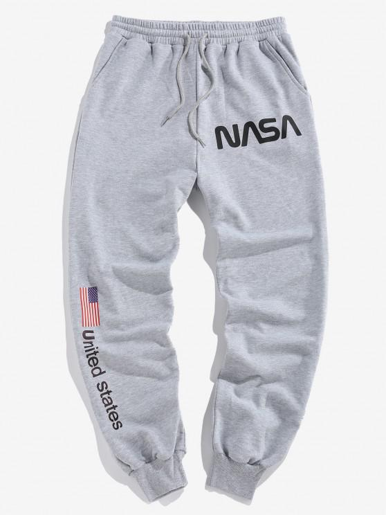 hot ZAFUL American Flag Letters Print Drawstring Sweatpants - LIGHT GRAY M