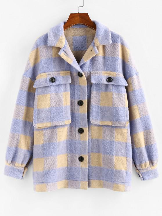 lady ZAFUL Checkered Drop Shoulder Pocket Coat - LIGHT PURPLE M