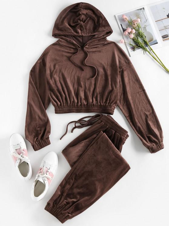 outfits ZAFUL Fleece Crop Hoodie and Pants Sport Suit - SEPIA S