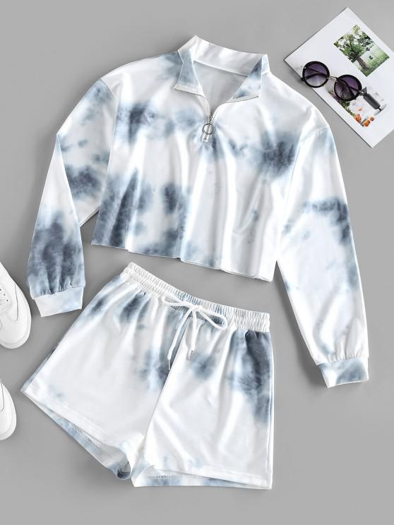 sale ZAFUL Tie Dye Half Zip Two Piece Set - WHITE S
