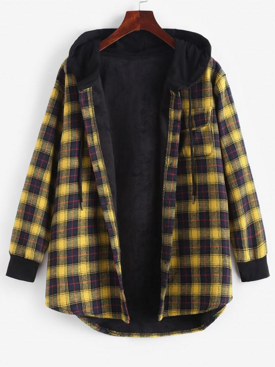Plaid Button Up Pocket Hooded Coat - الأصفر L