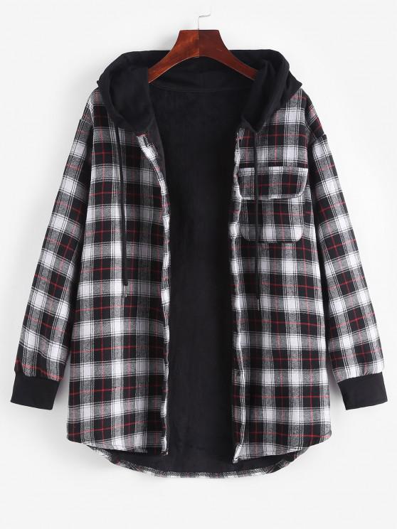 trendy Plaid Button Up Pocket Hooded Coat - BLACK L