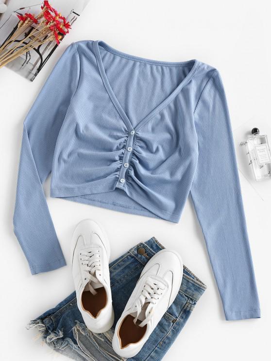 ZAFUL Camisola da Colheita do Botão para Cima Cortado - Azul de Pastel L