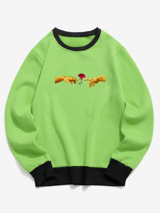 sale Hand and Rose Print Colorblock Fleece Sweatshirt - CHARTREUSE L