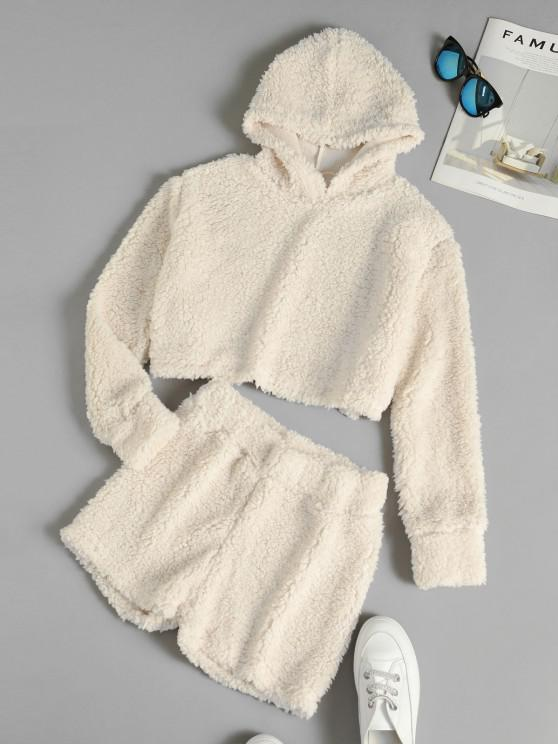 sale Fuzzy Teddy Cropped Hoodie and Shorts Set - WARM WHITE XL