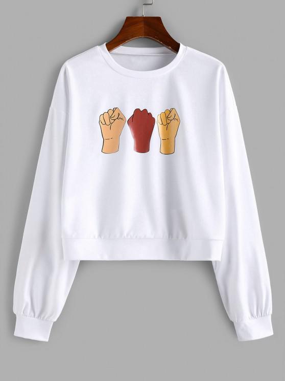 ZAFUL Drop Shoulder Fist Print Pullover Sweatshirt - أبيض S