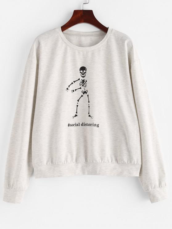 ZAFUL Space Dye Halloween Skeleton Graphic Sweatshirt - بلاتين S