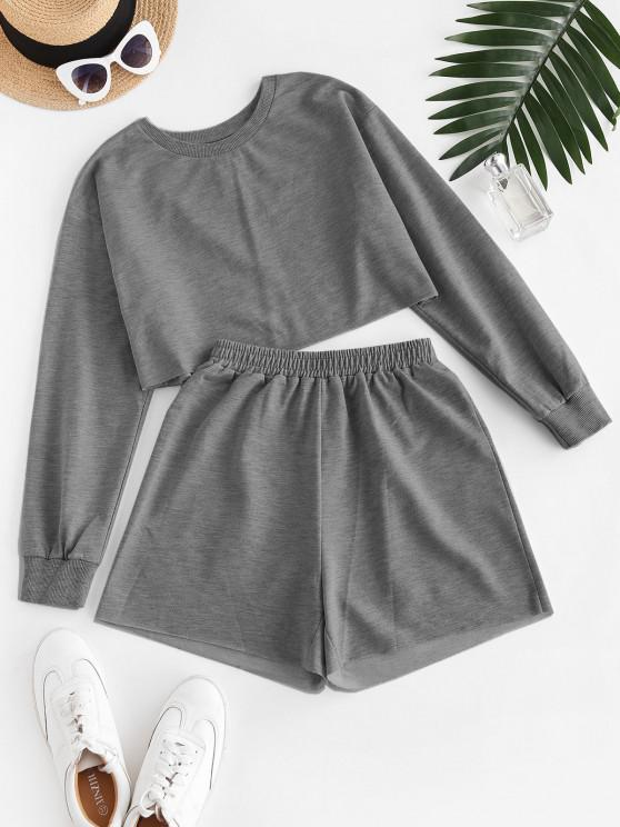 buy ZAFUL French Terry Raw Cut Two Piece Shorts Set - GRAY S