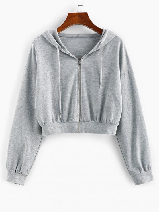 ZAFUL Drop Shoulder Hooded Crop Jacket - الرماد رمادي XL