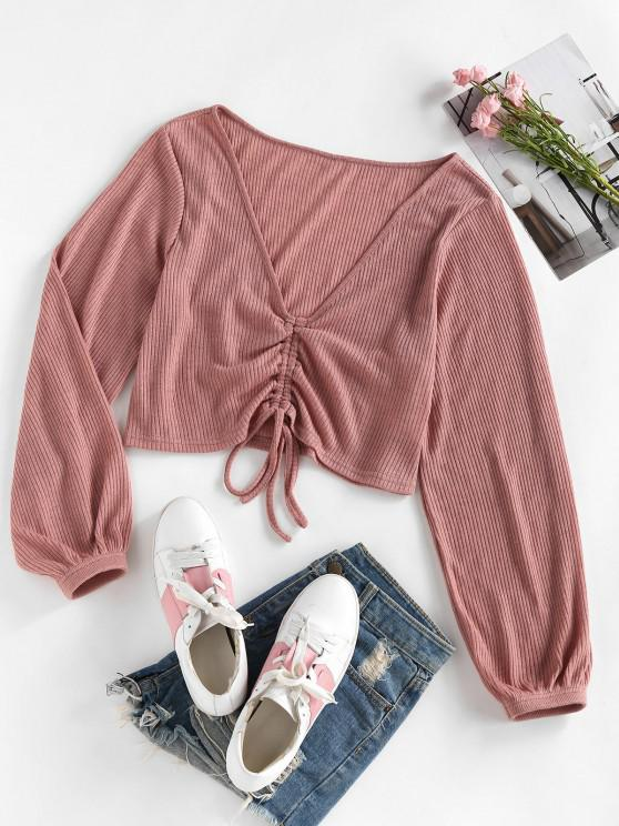 online ZAFUL Ribbed Cinched Tie Plunge Sweater - LIGHT PINK S