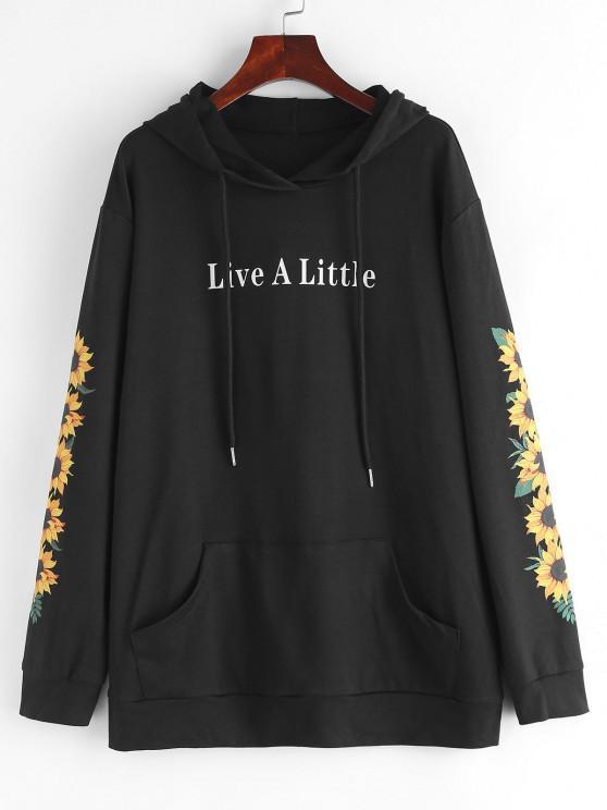 best ZAFUL Kangaroo Pocket Sunflower Graphic Pullover Hoodie - BLACK L