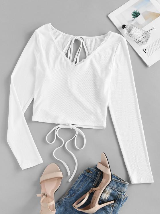best ZAFUL Lace Insert Open Back Ribbed T-shirt - WHITE XL