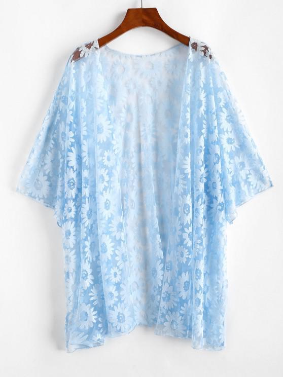 Plus Size Floral Mesh Cover-up Kimono - أزرق فاتح 2XL