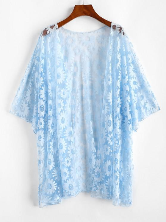 Plus Size Floral Mesh Cover-up Kimono - أزرق فاتح 4XL