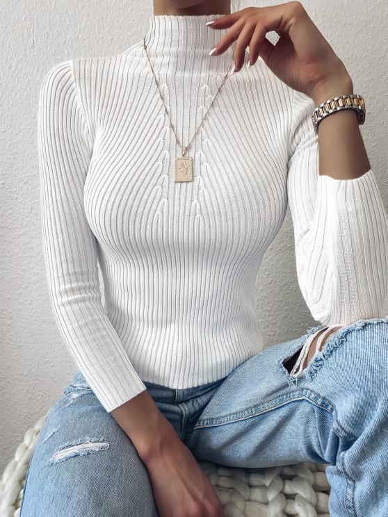Pullover Stehkragen Einfache Dünne Strickjacke - Weiß Eine Größe