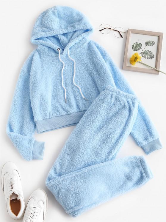 Conjunto de duas Peças: Calças Lounge e calças listradas - Azul Claro L