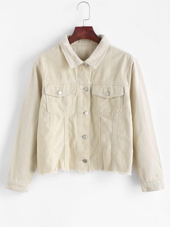 ladies Frayed Hem Pocket Corduroy Denim Jacket - LIGHT YELLOW XL