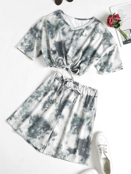 ladies Tie Dye Drop Shoulder Drawstring Bermuda Shorts Set - GRAY M