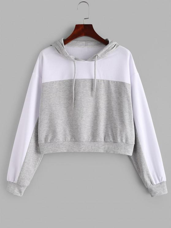 ZAFUL Two Tone Drop Shoulder Pullover Hoodie - بلاتين M