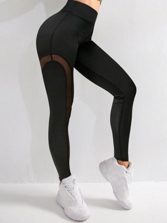 online Mesh Panel Topstitch High Waisted Gym Leggings - BLACK M