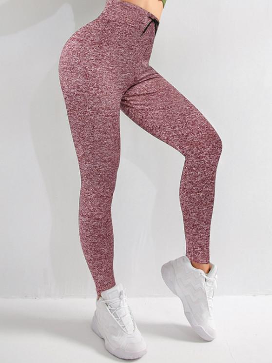 trendy Drawstring Heather Skinny Leggings - DEEP RED L