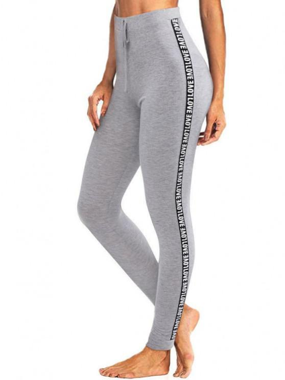 women ZAFUL Letter Patched Heathered Tied Leggings - GRAY CLOUD XL