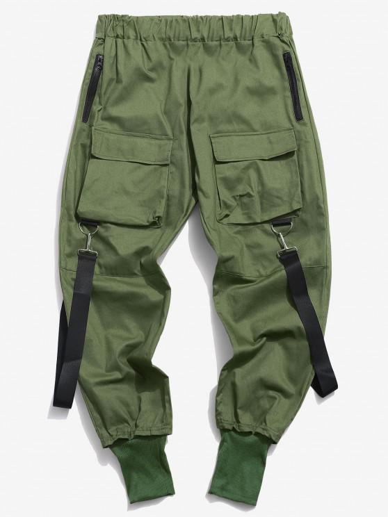 Pantalon Décontracté Cargo Multi-poches - Vert profond XS