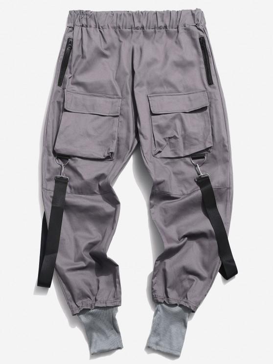 Pantalon Décontracté Cargo Multi-poches - Gris Foncé XS