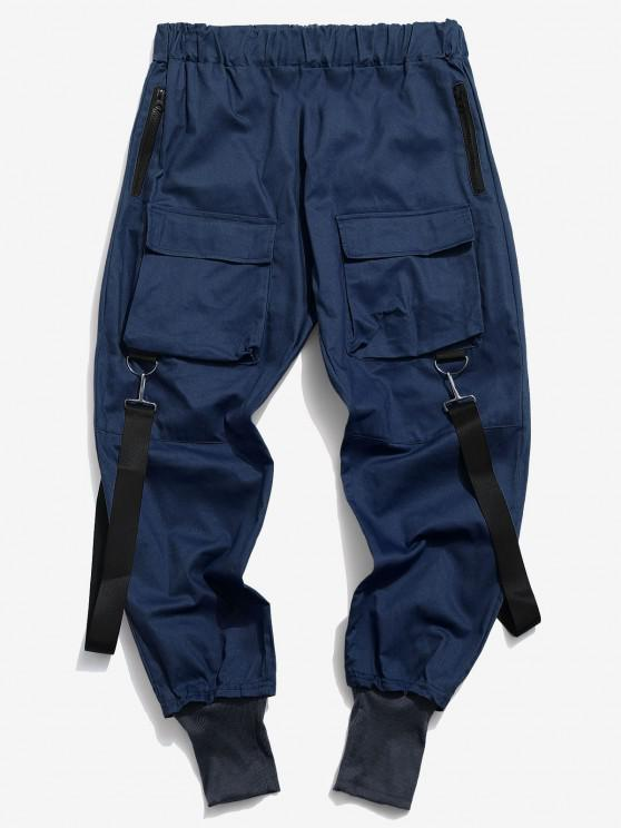 Pantalon Décontracté Cargo Multi-poches - Bleu profond L