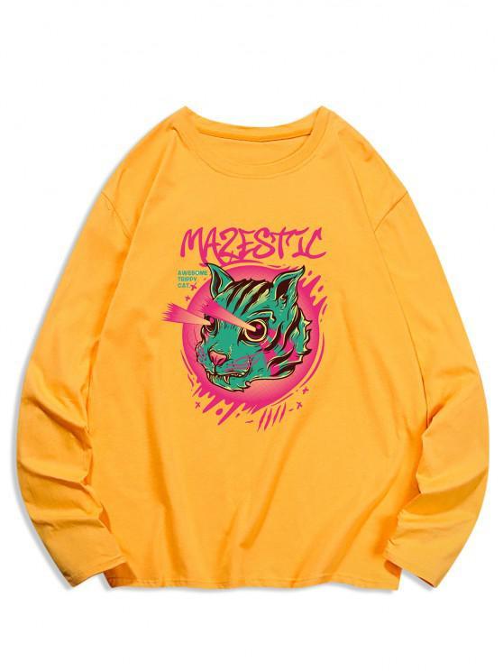 T-Shirt Stampata a Gatto con Maniche Lunghe - Giallo d'oro 2XL