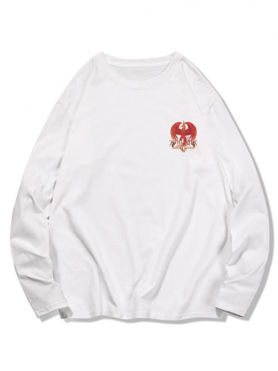 Crew Neck Eagle Graphic Leisure T Shirt - أبيض XL