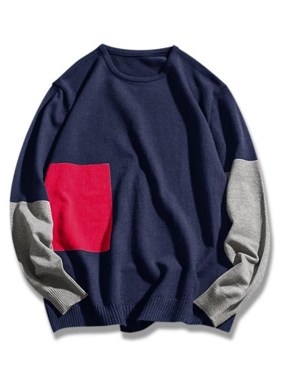 sale Crew Neck Geometric Contrast Sweater - DEEP BLUE S