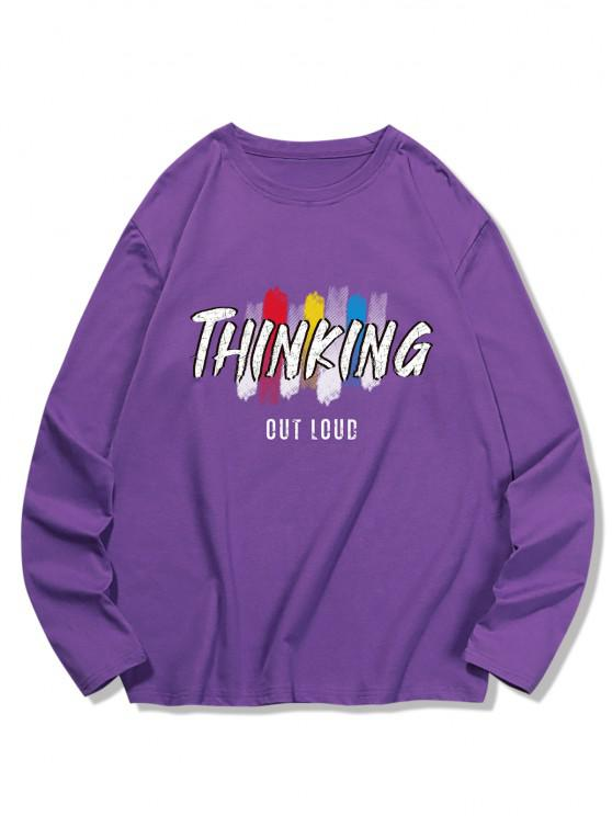 THINKING Letter Printed Long Sleeves T-shirt - الأرجواني القزحية L