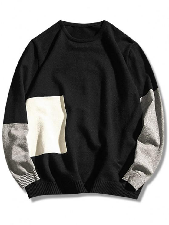 hot Crew Neck Geometric Contrast Sweater - BLACK XS