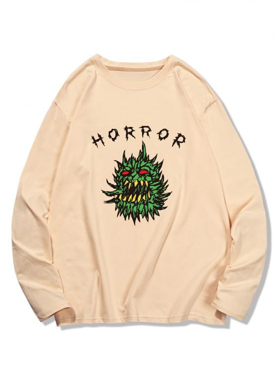 Horror Graphic Pattern Long Sleeve T-shirt - شامبانيا S