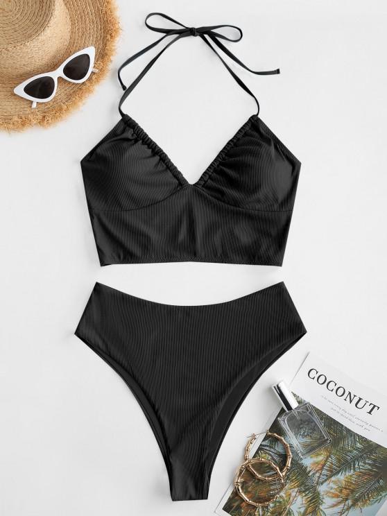 ZAFUL Halter Ribbed Bustier Tankini Swimwear - أسود L