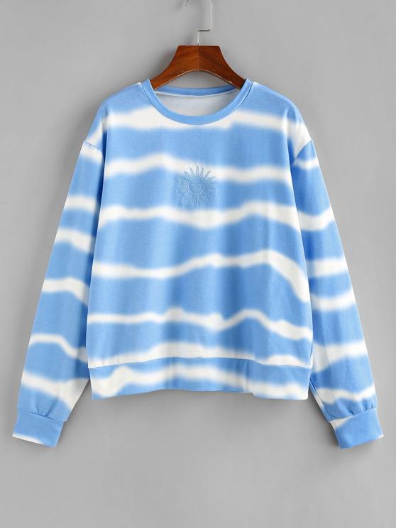 chic ZAFUL Sun Embroidered Tie Dye Loose Sweatshirt - LIGHT BLUE M