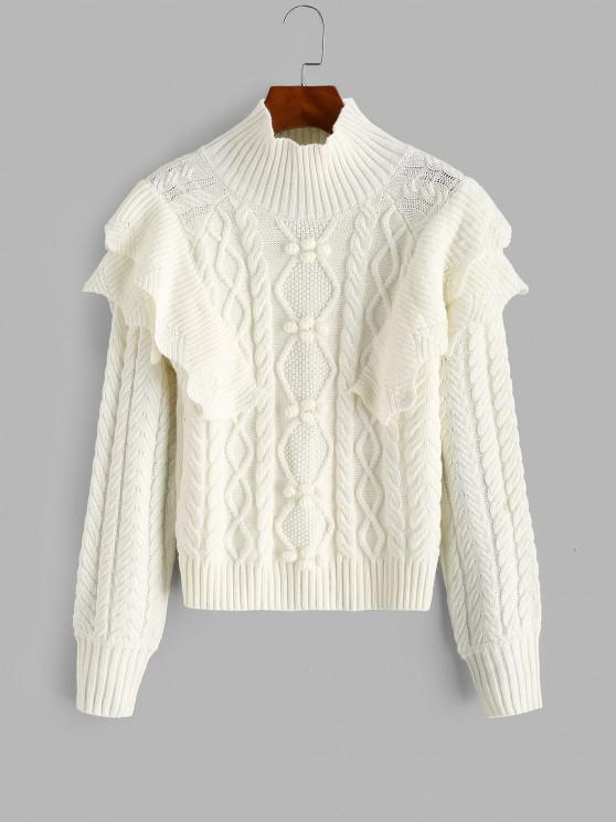 Layered Ruffles Cable Knit Pompoms Sweater - أبيض حجم واحد