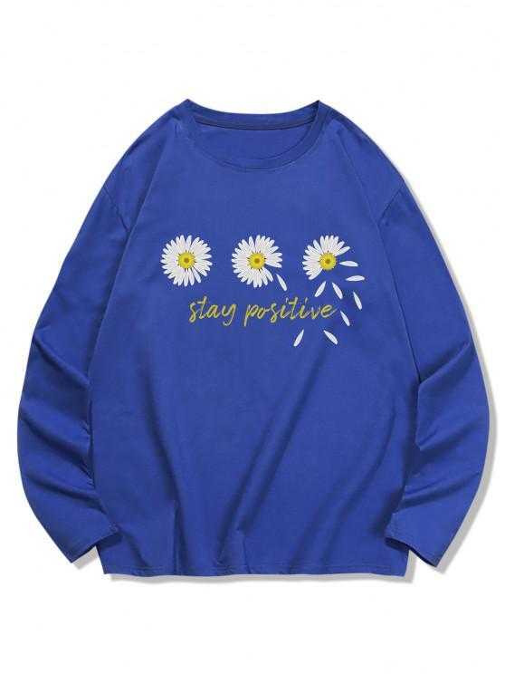 Dreifach Daisy Graphik Freizeit Langarm T-Shirt - Kobaltblau XL