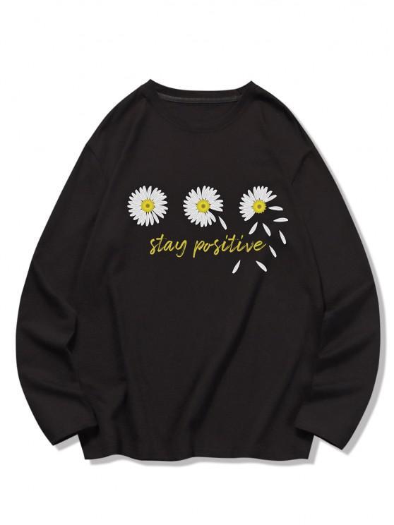 unique Triple Daisy Graphic Leisure Long Sleeve T Shirt - BLACK 2XL