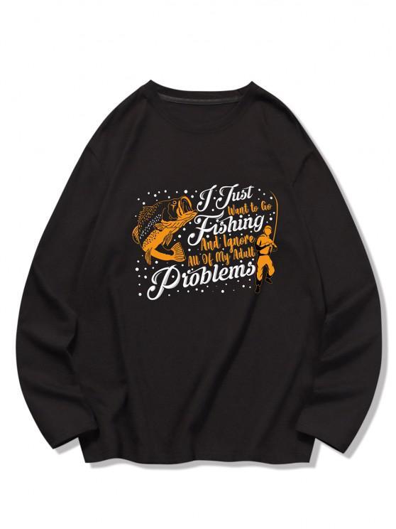 Fischschuppen Bedrucktes T-Shirt mit Langen Ärmeln - Schwarz M