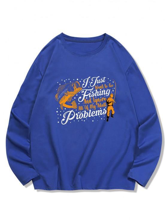 shop Fish Graphic Printed Long Sleeves T-shirt - DENIM DARK BLUE 2XL