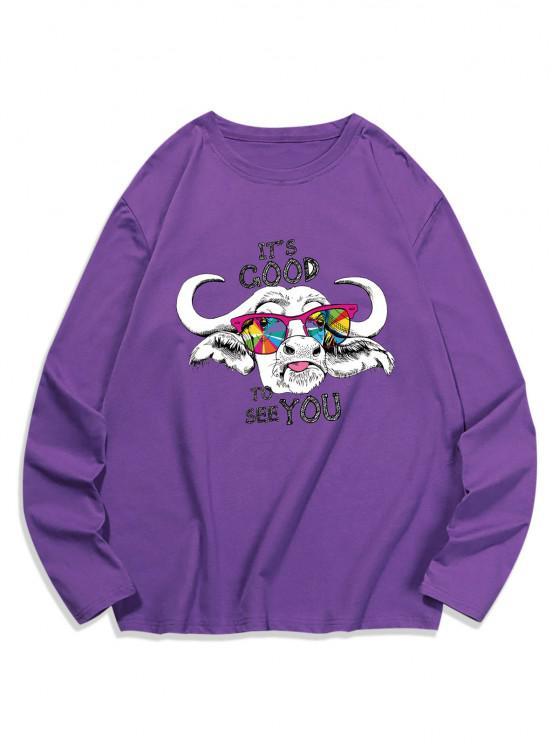 Cool Cattle Graphic Crew Neck Casual T Shirt - الأرجواني القزحية XL